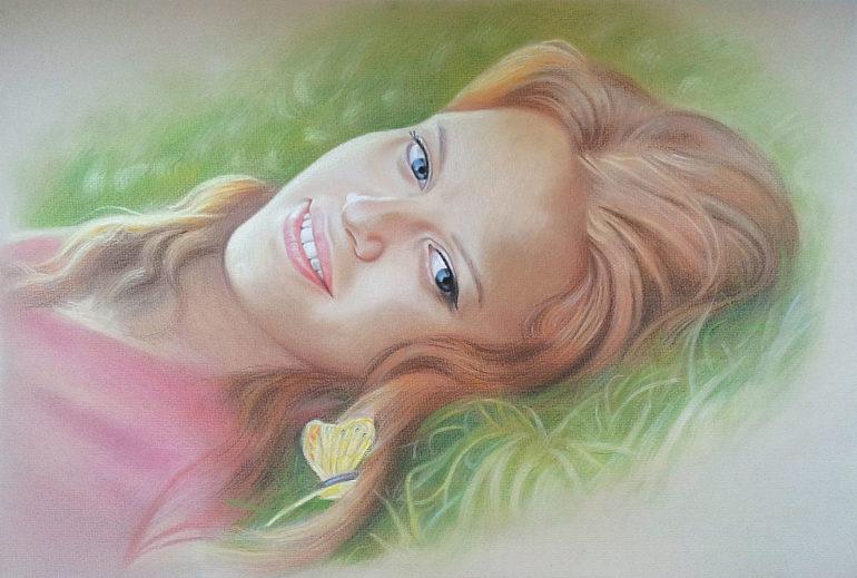 Настоящий портрет пастелью для любимой девушки в Новокузнецке, просто и со вкусом!