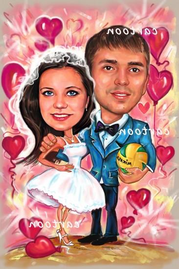 Свадебный шарж с оригинальным сюжетом в Новокузнецке!