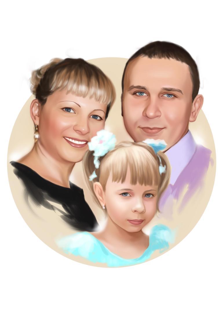 Семейный портрет по фото на холсте в Новокузнецке — правильный подарок!