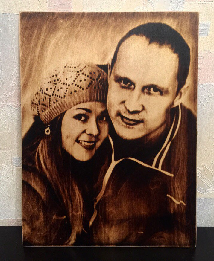 выжигание портретов по дереву на заказ