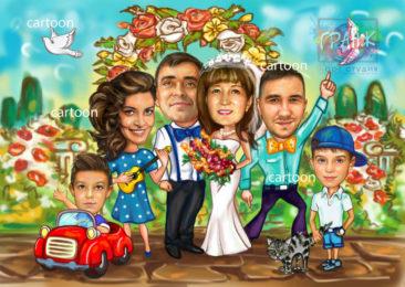 Шарж по фото на годовщину свадьбы на заказ в Новокузнецке…